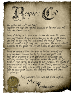 Layout Example (Reapers Guild Call to Arms)